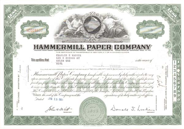 Hammermill Paper Company - Stock Certificate