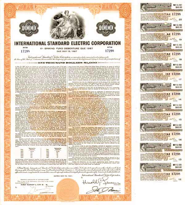 International Standard Electric Corp - Bond
