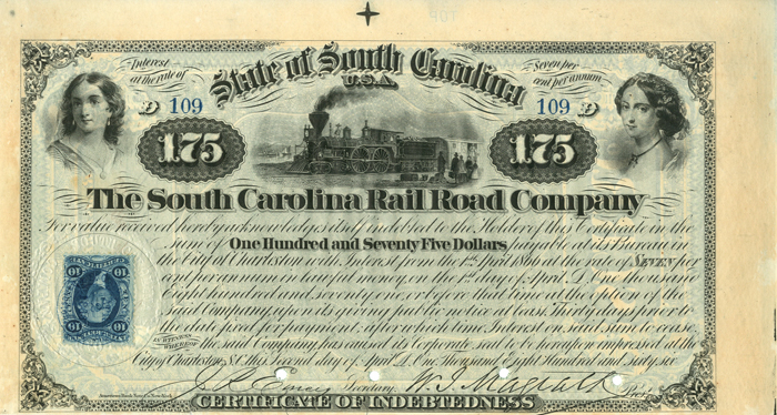 South Carolina Rail Road Company $175 Bond