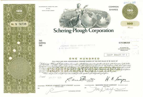 Schering-Plough Corporation - Stock Certificate - SOLD
