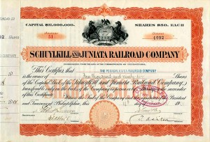 Schuylkill and Juniata Railroad Company - SOLD