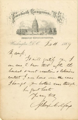 Autographed Letter Signed by Schuyler Colfax and envelope