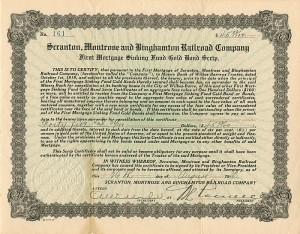 Scranton, Montrose and Binghamton Railroad Company - SOLD