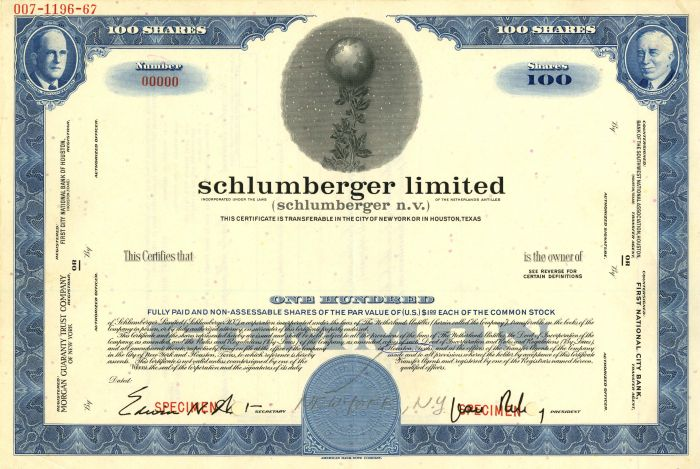 Schlumberger Limited - Stock Certificate
