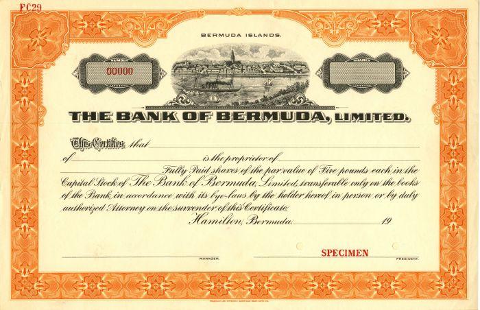 Bank of Bermuda, limited - Stock Certificate
