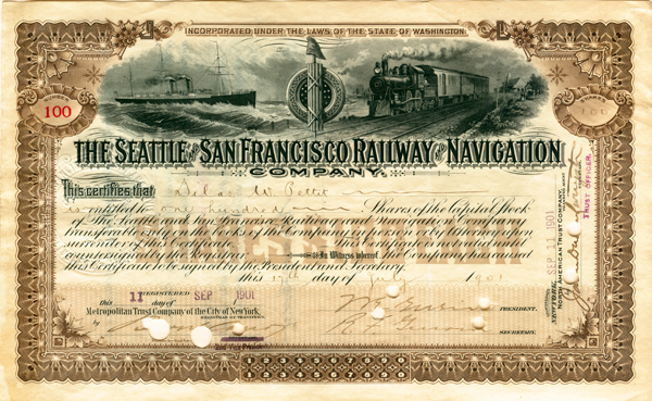 Seattle and San Francisco Railway and Navigation Company - Stock Certificate