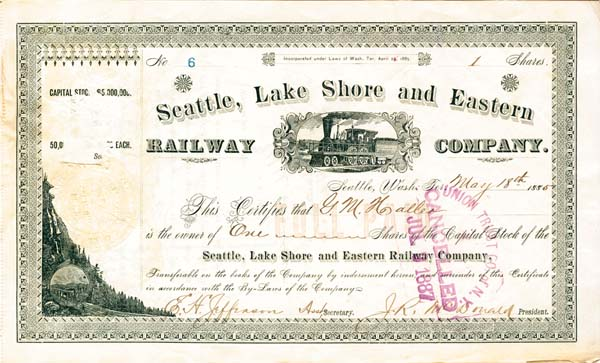 Seattle, Lake Shore and Eastern Railway Company - Stock Certificate