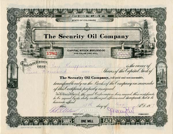 Security Oil Company - Stock Certificate