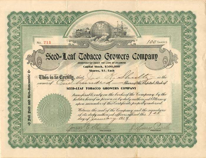 Seed=Leaf Tobacco Growers Company - SOLD