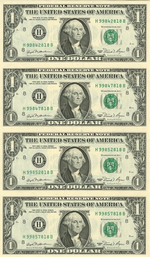 Uncut Sheet of 4 $1 U.S. notes - SOLD