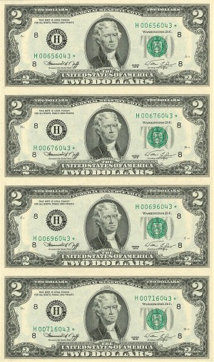 Uncut Sheet of 4 $2 U.S. notes - SOLD