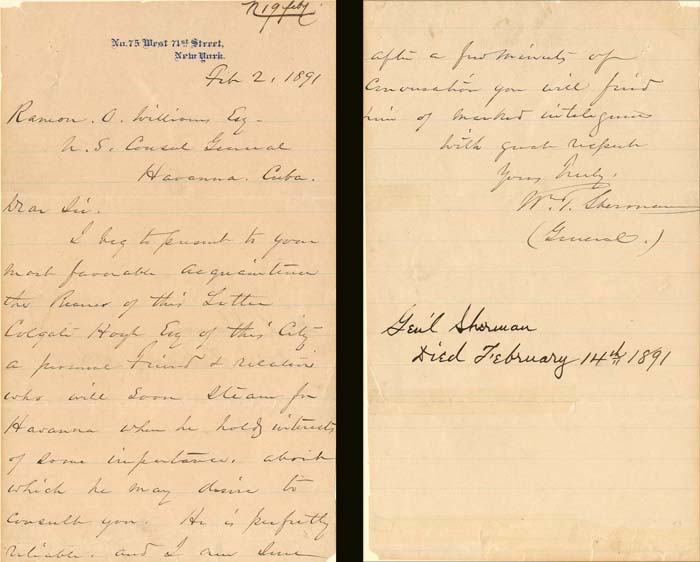 Autographed Letter signed by Wm. T. Sherman