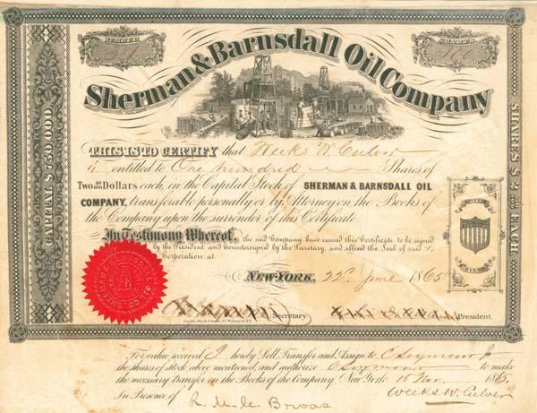 Sherman & Barndall Oil Company - Stock Certificate