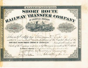 E. H. Harriman & Stuyvesant Fish autographed Short Route Railway Transfer Co. - Stock Certificate