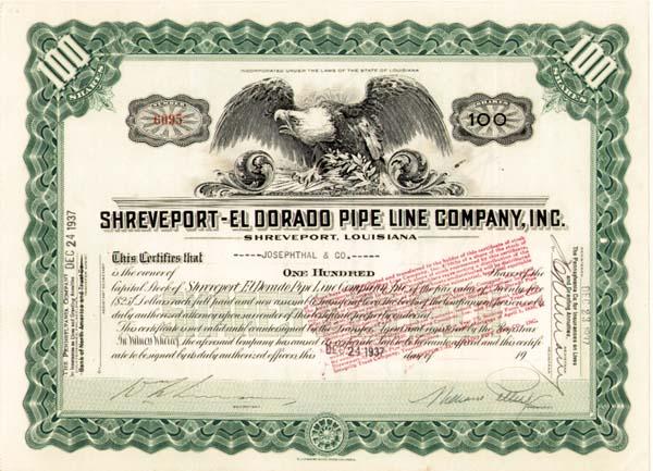 Shreveport-El Dorado Pipe Line Co., Inc - Stock Certificate