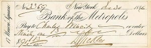 Major General D. E. Sickles signed Check