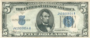 $5 Silver Certificate - FR-1651 - SOLD