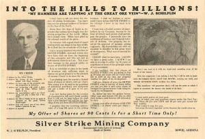 Advertisement for the Silver Strike Mining Company
