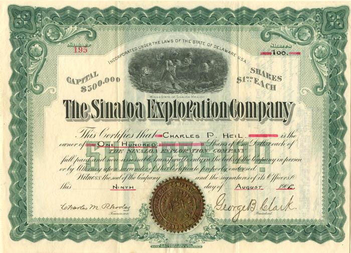 Sinaloa Exploration Company - Stock Certificate