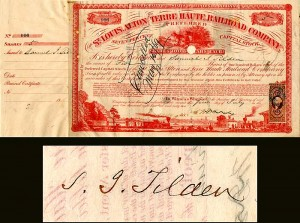 St. Louis, Alton and Terre Haute Railroad issued to and signed by Samuel J. Tilden