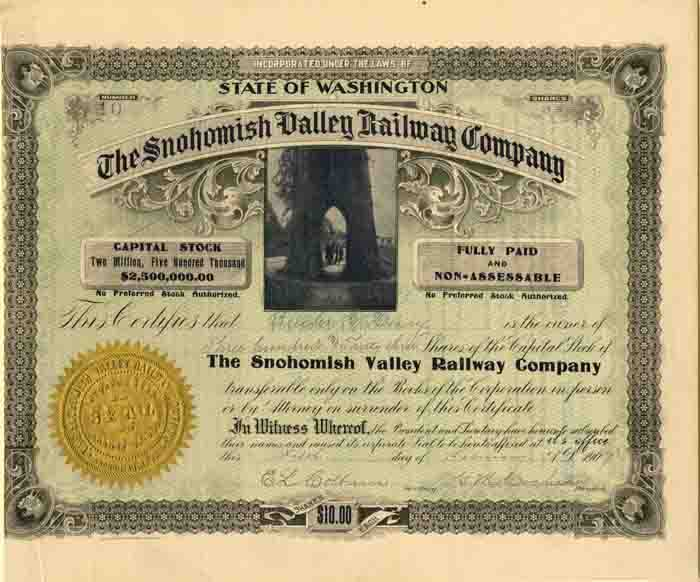 Snohomish Valley Railway Compay - SOLD