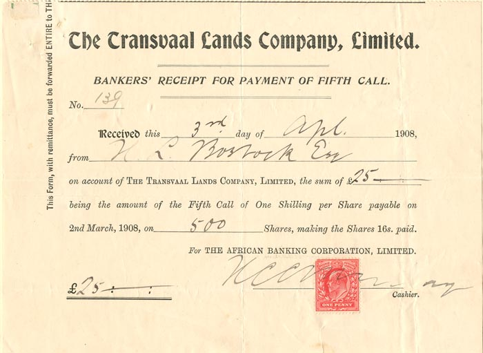 Transvaal Lands Company, Limited Check - SOLD
