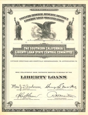 Southern California Liberty Loan State Central Committee - SOLD