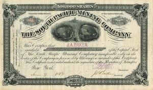 South Pacific Mining Company signed by J.A. Baker