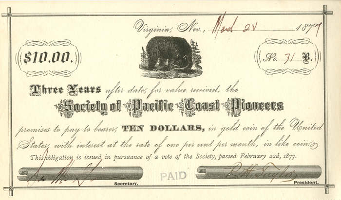 Society of Pacific Coast Pioneers - SOLD