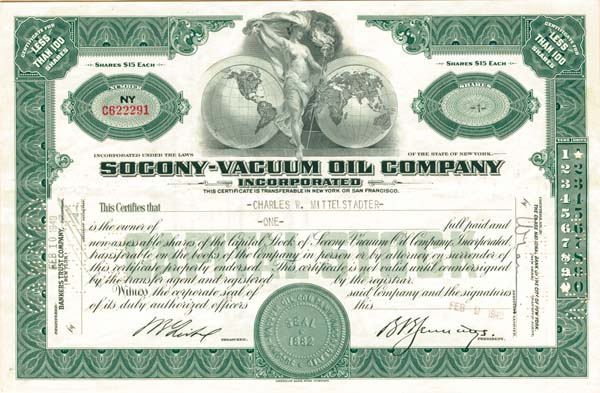 Socony-Vacuum Oil Company Inc - Stock Certificate - SOLD