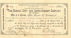 Sonora City and Improvement Company - SOLD