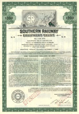 Southern Railway Equipment Trust $1000 Bond
