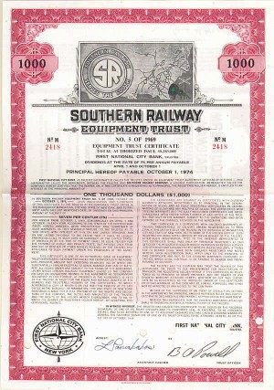 Southern Railway Equipment Trust - Bond