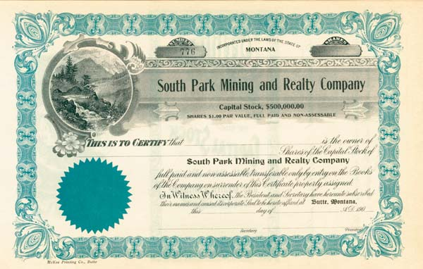 South Park Mining and Realty Company - Stock Certificate
