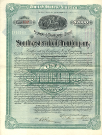 Southwestern Coal and Iron Company $1000 Bond