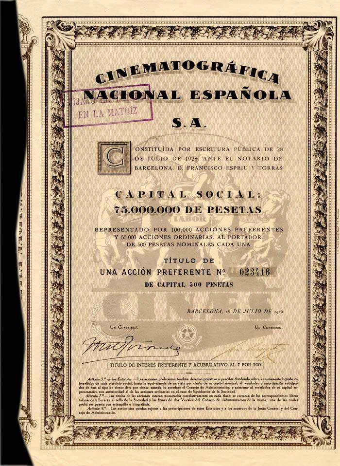 Cinematografica Nacional Espanola S.A. - Stock Certificate
