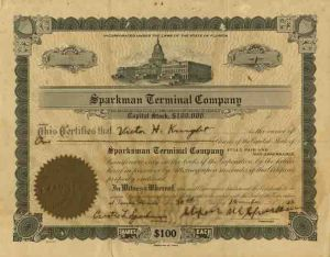 Sparksman Terminal Company - Stock Certificate