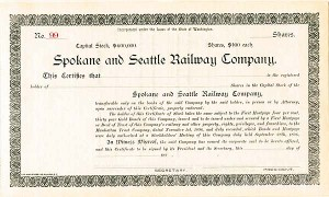Spokane and Seattle Railway Company - Stock Certificate
