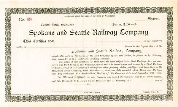 Spokane and Seattle Railway Company - Stock Certificate