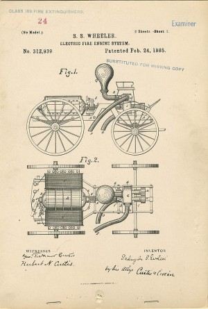 S.S. Wheeler Electric Fire Engine System Patent
