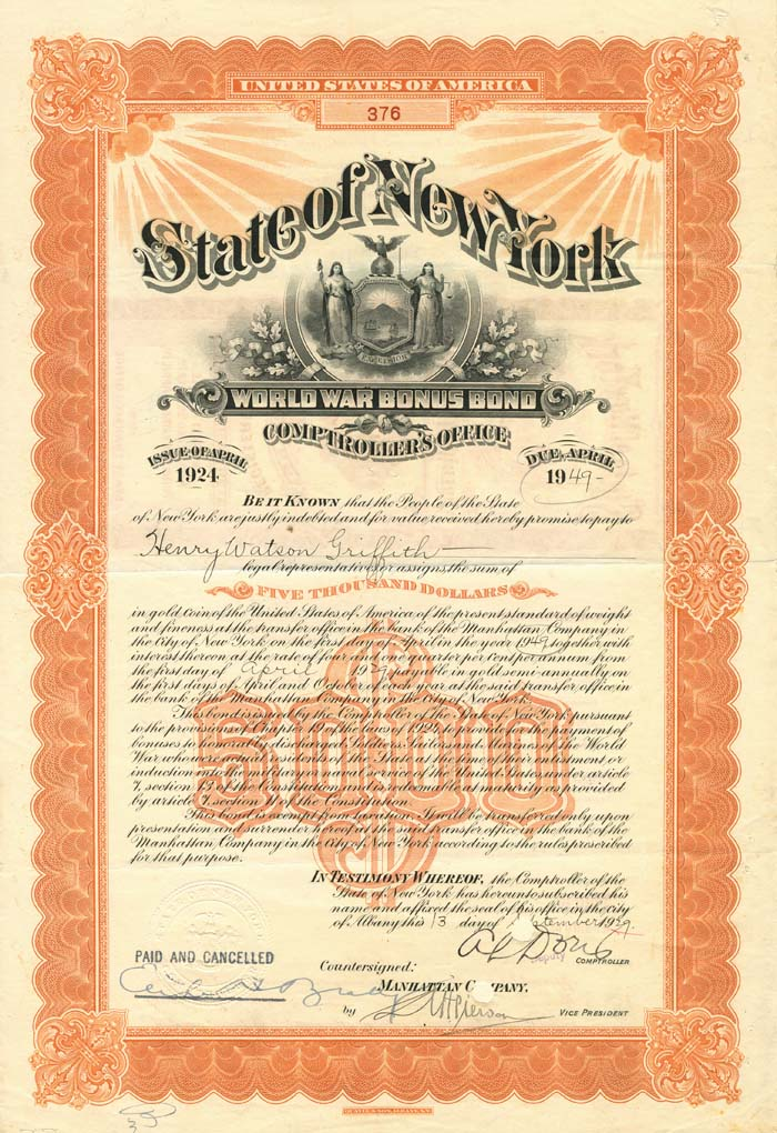 State of New York World War Bonus Bond