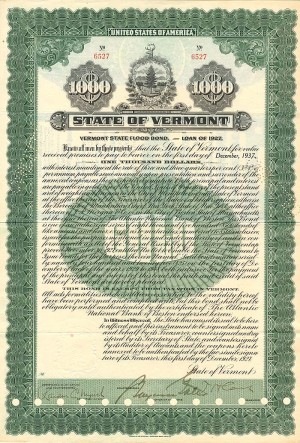State of Vermont - $1,000 Bond