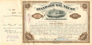 Standard Oil Trust signed twice by H.M. Flagler and issued to D.M. Harkness