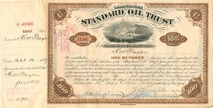 Standard Oil Trust issued to H.M. Flagler and signed twice