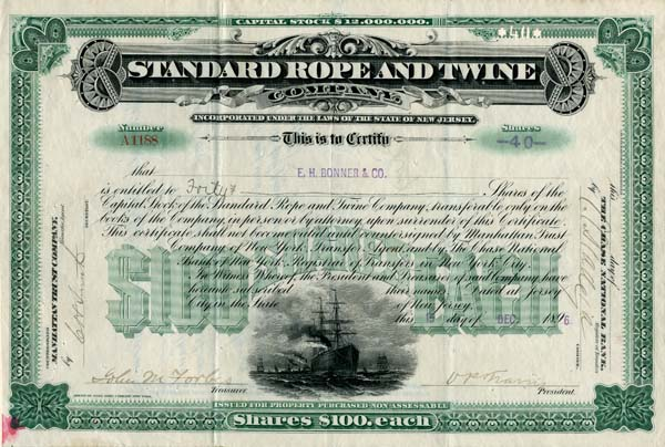 Forbes signed Standard Rope and Twine Company