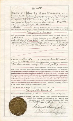 Leland Stanford signs Railroad Deed - SOLD
