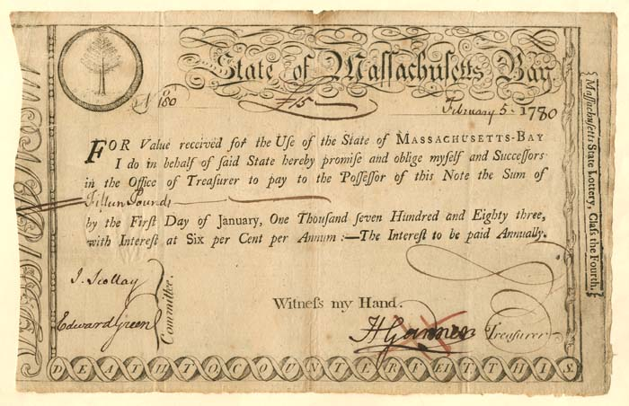 State of Massachusetts Bay Bond