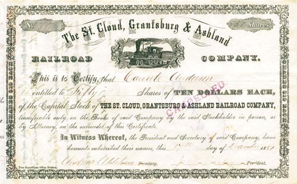 St. Cloud, Grantsburg & Ashland Railroad Company - Stock Certificate