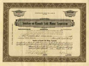 Stenshaw - on- Klamath Gold Mining Corporation