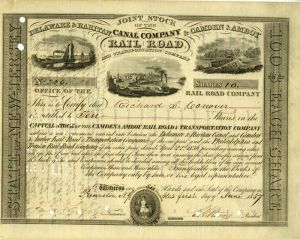 Joint Stock of Delaware & Raritan Canal Company & Camden & Amboy Railroad - signed by E.A. Stevens - SOLD